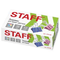 """Зажимы для бумаг STAFF """"Profit"""", КОМПЛЕКТ 12 шт., 19 мм, на 60 листов, цветные, картонная коробка, 225156"""