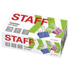 """Зажимы для бумаг STAFF """"Profit"""", КОМПЛЕКТ 12 шт., 25 мм, на 100 листов, цветные, картонная коробка, 225157"""