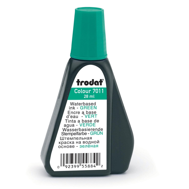 Краска штемпельная TRODAT, зеленая, 28 мл, на водной основе, 7011з, 52975