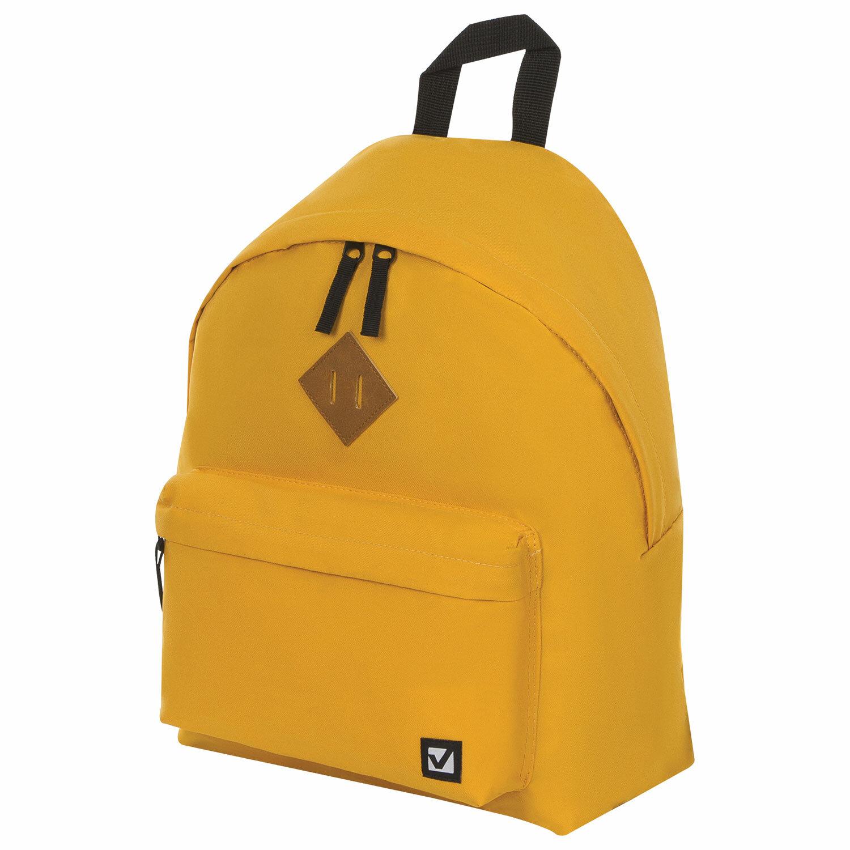 Рюкзак BRAUBERG, универсальный, сити-формат, один тон, желтый, 20 литров, 41х32х14 см, 225378