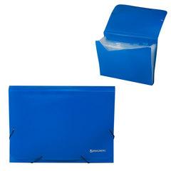 Папка на резинках BRAUBERG, А4, 7 отделений, пластиковые индексы, синяя, Россия