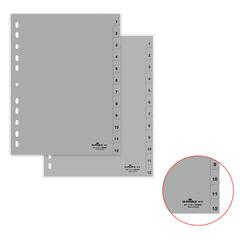 Разделитель пластиковый DURABLE (Германия) для папок А4, цифровой 1-12, серый