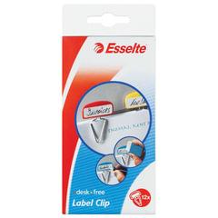 """Скрепки с табличкой для маркировки ESSELTE """"Desk Free"""", комплект 12 шт., цвет ассорти"""