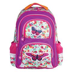 """Рюкзак BRAUBERG с EVA спинкой, для учениц начальной школы, """"Бабочка в цветах"""", 38х30х14 см"""