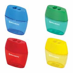 """Точилка BRAUBERG """"Diamond Dual"""", 2 отверстия для чернографитных карандашей (в том числе утолщенных), с контейнером, ассорти, 226941"""