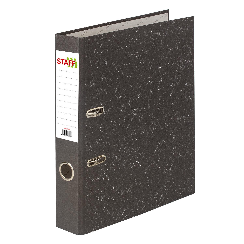 """Папка-регистратор STAFF """"Basic"""" БЮДЖЕТ с мраморным покрытием, 50 мм, без уголка, черный корешок, 227184"""