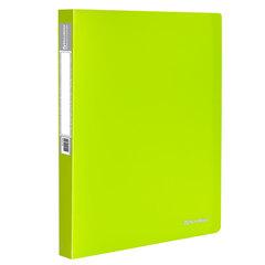 """Папка на 2 кольцах BRAUBERG """"Neon"""", 25 мм, внутренний карман, неоновая, зеленая, до 170 листов, 0,7 мм, 227456"""