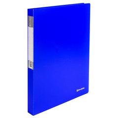 "Папка на 2 кольцах BRAUBERG ""Neon"", 25 мм, внутренний карман, неоновая, синяя, до 170 листов, 0,7 мм, 227459"