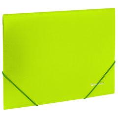 """Папка на резинках BRAUBERG """"Neon"""", неоновая, зеленая, до 300 листов, 0,5 мм, 227460"""