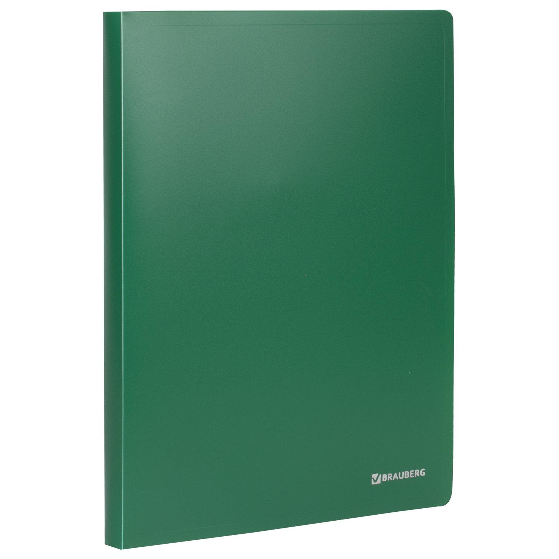 "Папка на 2 кольцах BRAUBERG ""Office"", 25 мм, зеленая, до 170 листов, 0,5 мм, 227497"