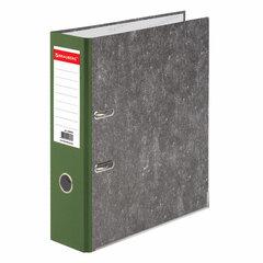 Папка-регистратор BRAUBERG, усиленный корешок, мраморное покрытие, 80 мм, с уголком, зеленая, 228030