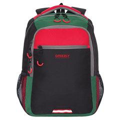 Рюкзак GRIZZLY универсальный, черный/красный, 31х42х22 см
