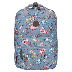 Рюкзак GRIZZLY универсальный, для девушек, Птицы в цветах, 30х42х19 см