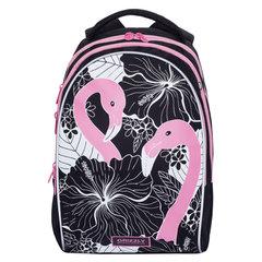 Рюкзак GRIZZLY школьный, анатомическая спинка, девочка, Розовый фламинго, 28х41х20 см