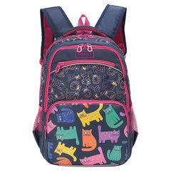 Рюкзак GRIZZLY школьный, анатомическая спинка, девочка, Смарт коты, 27х38х19 см