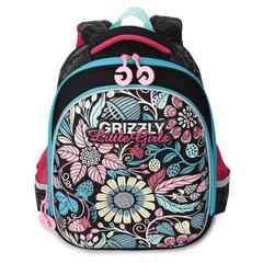 Ранец GRIZZLY формованный, для начальной школы, девочка, Узор, 28х36х20 см