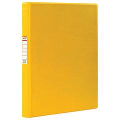 Папка на 2 кольцах BRAUBERG, картон/ПВХ, 35 мм, желтая, до 180 листов (удвоенный срок службы), 228381