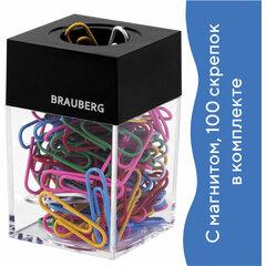 Скрепочница магнитная BRAUBERG со 100 цветными скрепками 28 мм, прозрачный корпус, 228401