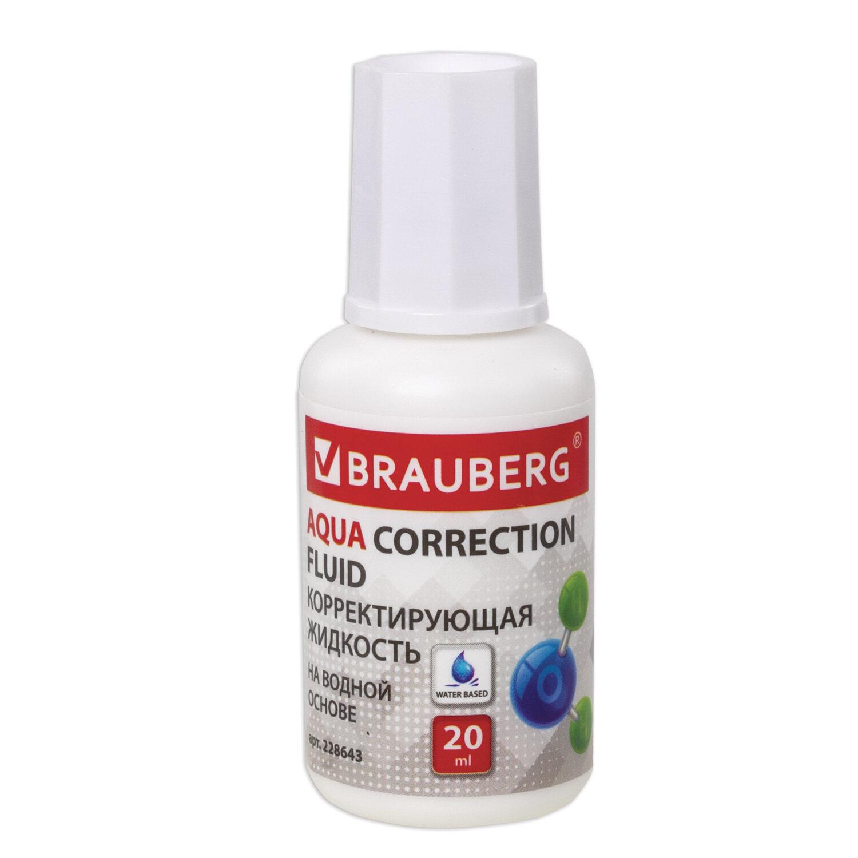 """Корректирующая жидкость BRAUBERG """"Aqua"""" на водной основе 20 мл, с кисточкой, 22хххх"""