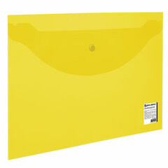 Папка-конверт с кнопкой BRAUBERG, А4, до 100 листов, прозрачная, желтая, 0,15 мм, 228670