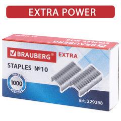 """Скобы для степлера цинковое покрытие №10, 1000 штук, BRAUBERG """"EXTRA"""", до 20 листов, 229298"""