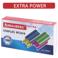 """Скобы для степлера цветные №24/6, 1000 штук, BRAUBERG """"EXTRA"""", до 30 листов, 229301"""