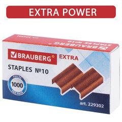 """Скобы для степлера медное покрытие №10, 1000 штук, BRAUBERG """"EXTRA"""", до 20 листов, 229302"""