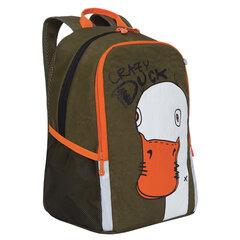 """Рюкзак GRIZZLY школьный, анатомическая спинка, хаки, """"Crazy Duck"""", 38x29x17 см, RB-051-5/3"""