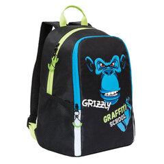 """Рюкзак GRIZZLY школьный, анатомическая спинка, черный, """"Шимпанзе"""", 38x29x17 см, RB-051-6/1"""