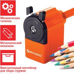 """Точилка механическая BRAUBERG """"JET"""", металлический механизм, корпус оранжевый, 229567"""