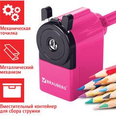 """Точилка механическая BRAUBERG """"JET"""", металлический механизм, корпус розовый, 229568"""