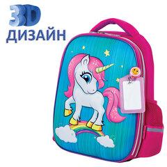 """Ранец ЮНЛАНДИЯ LIGHT, 2 отделения, """"Neon unicorn"""", 3D панель, 38х29х16 см, 229916"""