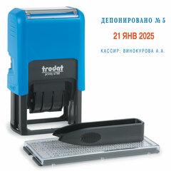Датер самонаборный, 2 строки + дата, оттиск 41х24 мм, сине-красный, TRODAT 4750, касса в комплекте