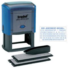 Штамп самонаборный 7-строчный, размер оттиска 60х33 мм, синий без рамки, TRODAT 4928/DB, КАССЫ В КОМПЛЕКТЕ