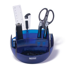 Канцелярский набор BRAUBERG, 10 предметов, сферическая форма, вращающаяся конструкция 360°, тонированный синий, блистер, 231926