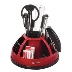 """Канцелярский набор BRAUBERG """"Микс"""", 10 предметов, вращающаяся конструкция, черно-красный, блистер, 231929"""