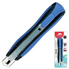 "Нож канцелярский 18 мм MAPED (Франция) ""Zenoa"", автофиксатор, цвет корпуса синий, блистер, 086110"