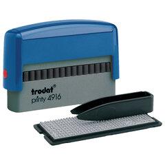 Штамп самонаборный 2-строчный, оттиск 70х10 мм, синий без рамки, TRODAT 4916DB, КАССЫ В КОМПЛЕКТЕ
