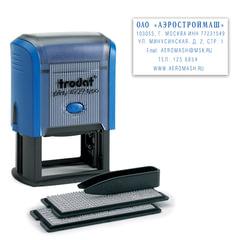 Штамп самонаборный 6-строчный, размер оттиска 50х30 мм, синий без рамки, TRODAT 4929/DB, КАССЫ В КОМПЛЕКТЕ