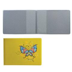 """Обложка для пластиковых карт, дорожных билетов, студенческих билетов """"БАБОЧКА"""", кожзаменитель, желтая, ДПС, 2757.Т1"""