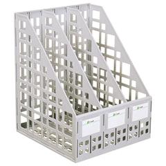 Лоток вертикальный для бумаг СТАММ (250х245х295 мм), 3 отделения, сетчатый, сборный, серый, ЛТ80