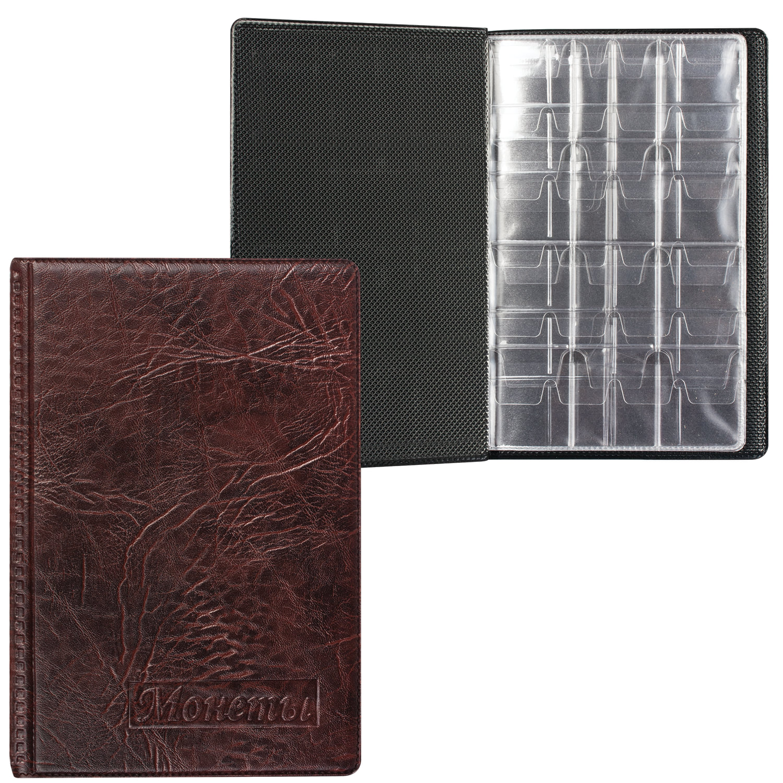 Альбом для монет, 115х170х10 мм, для 108 монет, 2+4+2 листа (карманы 23х25+32х40+52х54 мм), АМК-108К