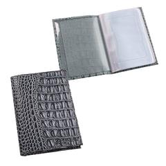 """Бумажник водителя BEFLER """"Кайман"""", натуральная кожа, тиснение, 6 пластиковых карманов, серый"""