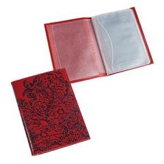 """Бумажник водителя BEFLER """"Гипюр"""", натуральная кожа, тиснение, 6 пластиковых карманов, красный"""