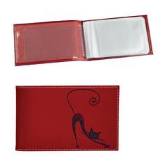 """Визитница карманная BEFLER """"Изящная кошка"""" на 40 визиток, натуральная кожа, тиснение, красная"""