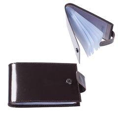 """Визитница карманная BEFLER """"Classic"""" на 40 визиток, натуральная кожа, кнопка, коричневая"""