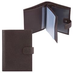 """Бумажник водителя FABULA """"Largo"""", натуральная кожа, тиснение, 6 пластиковых карманов, кнопка, коричневый, BV.8.LG"""