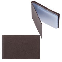 """Визитница карманная FABULA """"Largo"""" на 40 визиток, натуральная кожа, коричневый"""