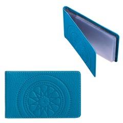 """Визитница карманная FABULA """"Talisman"""" на 40 визиток, натуральная кожа, тиснение, голубая"""