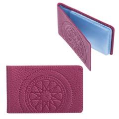 """Визитница карманная FABULA """"Talisman"""" на 40 визиток, натуральная кожа, геометрическое тиснение, малиновая"""